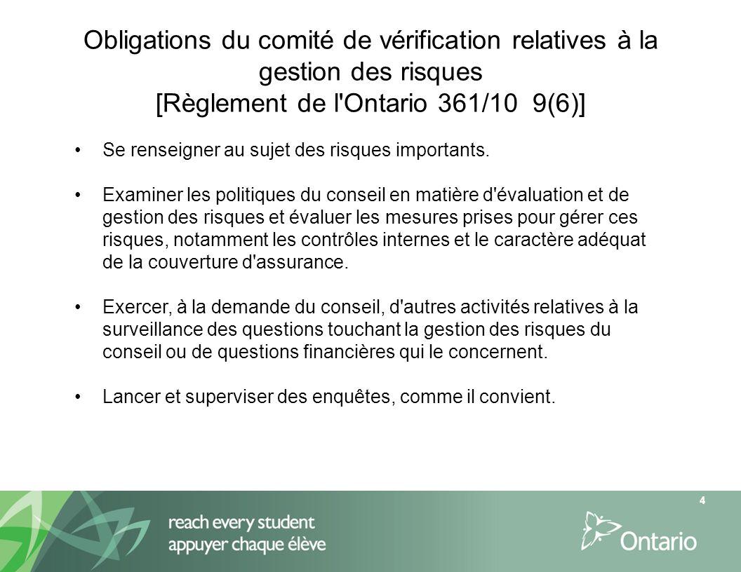 Obligations du comité de vérification relatives à la gestion des risques [Règlement de l Ontario 361/10 9(6)]